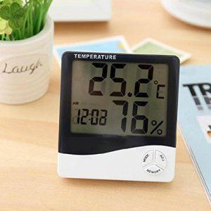 HZF-Thermomètre électronique, grand écran accueil température hygromètre, réveil électronique intérieure,Minuterie réveil