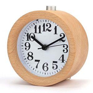 Réveil en Bois, à la main Petit Horloge Classique Ronde avec Veilleuse Lumière de Nuit Silencieux pour Bureau Maison Chambre