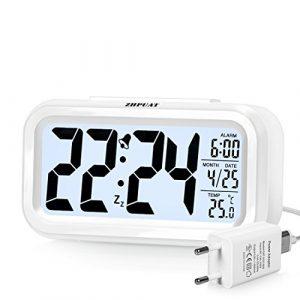 (Version Promue) ZHPUAT 4.6″ Réveil à Pile, Rétro-éclairage Contrôlable,Alarme Progressive,Numérique,Silencieux,Pratique, Électronique (Rouge)