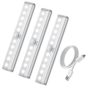 [3 Pack] AMIR 10LED Lampe Détecteur de Mouvement USB Rechargeable Veilleuse LED, Lampe de Placard Lampe Escalier Lumière d'armoire, Veilleuse Automatique (Blanc)