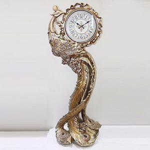 CNBBGJ Horloge, hall de l'hôtel de style européen rétro Peacock, mode réveil cloches mute