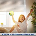 Réveil HAMSWAN 7 Couleurs et 6 sons de Nature Lumière de Nuit lampe de Table Affichage de Température Intérieure pour Parent Étudiant(Vert Clair)