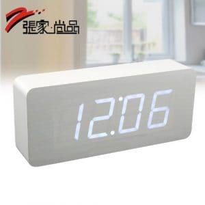 Y-hui la deuxième génération de nouvelles fonctions Réveil en bois Led horloge électronique Réveil Silence nuit chevet rectangulaire en bois blanc, et la lumière blanche