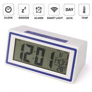 hunpta numérique rétroéclairage Écran LED Table Réveil Snooze Thermomètre Calendrier, bleu