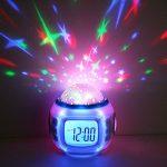 Hangang Réveil pour enfant projetant Réveil Veilleuse Lumière Veilleuse pour Enfant lampe LED