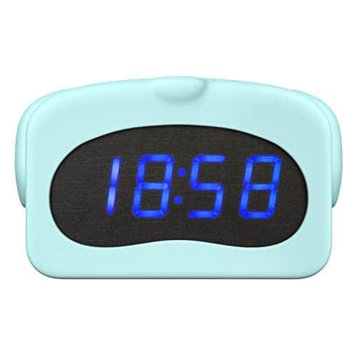 MoKo Réveil Numérique, Forme Animal Mignon Étui en Silicone, Horloge d'Affichage Température & Calendrier Contrôl LED, Alimenté Battrie/USB Cadeau Enfants – Chien Bleu