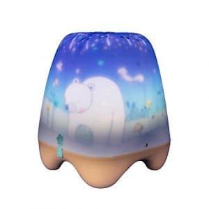 Pabobo – Manège Enchanté – Veilleuse Musicale et Berceuse – Projecteur Lumineux pour Bébé et Enfant – Beige