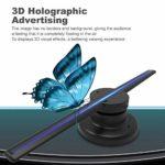 Diyeeni Projecteur holographique 3D Écran LED Projection holographique 3D à 360 ° Transmission de données à Distance par WiFi, livré avec Carte mémoire 16G et Lecteur de Carte(EU 110-240V)