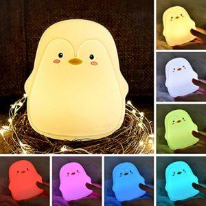 zerproc Veilleuse Bébé Lumière LED Portable en Silicone Pingouin 7 Couleurs changeant/3 Modes d'éclairage/USB Rechargeable battre pour changer la couleur