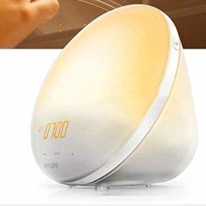 Intelligent Éveil lumière LED Lumière de réveil, simulant la couleur du lever du soleil lumière changeante de l'humeur horloge de table numérique Snooze Veilleuse Chambre