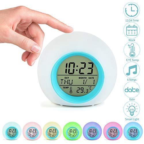 Jeteven Réveil Enfants Numérique Horloge Créatif Rond Calendrier Perpétuel Lampe Réveil avec 7 Couleurs de LED Veilleuse Lumière Réveil Chevet pour Enfant Bébé (Bleu)