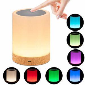 omitium Veilleuse LED, Lampe de Chevet avec Contrôle Tactile et USB Rechargeable et Changement de Couleurs RGB avec Dimmable Lampe de Table pour La Chambre et Le Salon – Blanc Chaud