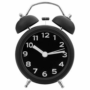 STARVAST 3Pouces Rétro Réveil Métal à Double Cloche, Reveil Mécanique Silencieux, Réveil Rétro Silencieux Horloge avec Lumière de Nuit pour Sommeil Bureau Chambre Voyage – Noir