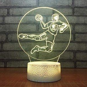 3D Illusion Nuit Lumière Joueur De Basket Led Bureau Table Lampe Chambre Chevet Décoration Lampes 7 Couleurs Change Veilleuse Usb Powered Enfants Cadeau Anniversaire Noël Cadeaux