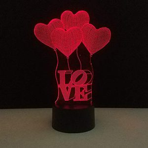 3D Lampe Illusion Ballon D'Amour Nuit Lumière Led Veilleuse,7 Couleurstactile Lampe De Chevet Chambretable Art Déco Enfant Lumière De Nuit Avec Câble Usb De Noël Cadeau D'Anniversaire
