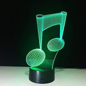 3D Lampe Illusion Nuit Lumière LED Veilleuse,7 CouleursTactile Lampe de Chevet ChambreTable Art Déco Enfant Lumière USB Nouveauté De Noël Cadeau d'anniversaire Symbole de la musique
