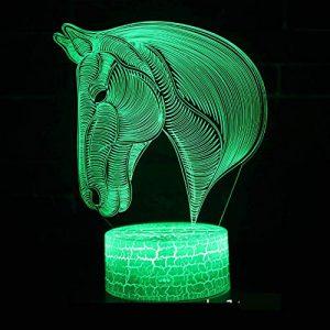3D Lampe Illusion Optique Tête De Cheval Animal Led Veilleuse, 16 Couleurs Tactile Lampe De Chevet Chambre Table Art Déco Enfant Lumière De Nuit Avec Câble Usb De Noël Cadeau D'Anniversaire