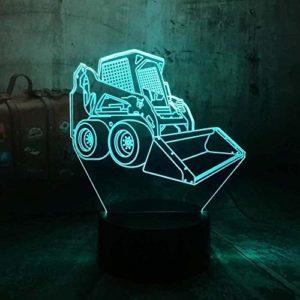 3D Led Veilleuse Lampe De Bureau Chariot Élévateur De Voiture Usb Rgb 7 Changement De Couleur Ampoule Décor À La Maison Cadeau Pour Enfant Bébé Jouets Lava