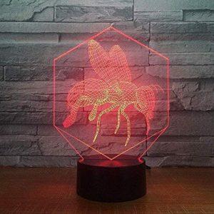 7 Changement De Couleur Usb 3D Led Abeilles Bande Dessinée Modélisation Lampe De Table Chambre Atmosphères Night Light Chevet Décor Bébé Sommeil Éclairages