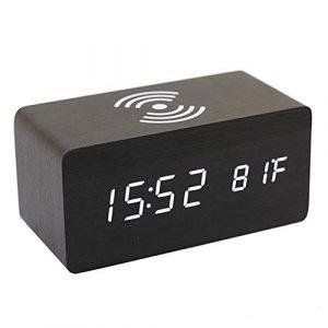 Adminitto88 Thermomètre Numérique Réveil Réveil Numérique Bois Réveil À Bois LED Digital avec Chargeur sans Fil, Réveil en Bois avec Chargeur À Induction Chargeur sans Fil pour Chambre/Bureau
