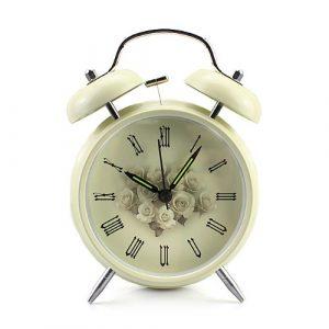 Baakyeek Réveil vintage en métal inoxydable avec 2cloches, fonction éclairage nocturne et réveil bruyant Motif roses 10,2cm