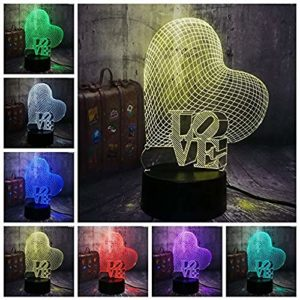 Boutiquespace Veilleuse 3D coeur d'amour LED veilleuse atmosphère romantique lampe de bureau décoration de mariage amoureux couple amour cadeau