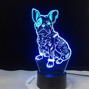 Bulldog 2019 Français Mignon Amour Chiot 3D LED Lampe De Table De Bureau RGBw Veilleuse USB Lampe De Table De Bureau À Distance Décoration de La Maison Enfants Cadeau Enfants