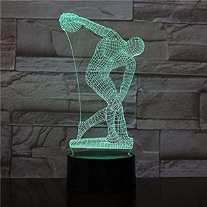 Discobole de Myron Lampe de bureau Sculpture de chevet Figure Capteur tactile RGB Lampe décorative Enfant Enfants Discobole LED Veilleuse A-1954
