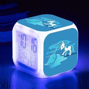 Enfants réveil dessin animé animation thème table de chevet réveil réveil numérique réveil avec port de charge USB LED veilleuse colorée éclairage petit voyage réveil muet enfants cadeau T10042