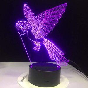 Led Lampe Oiseau Perroquet 3D Illusion Lumières De La Nuit, Chevet Table Art Déco 7 Couleurs Change Veilleuse Usb Powered Enfants Cadeau Anniversaire Cadeaux