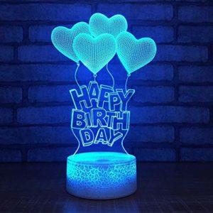 Led Veilleuses 3D Heureux Birhtday Coeur Ballon Forme 3D Led Veilleuse Acrylique Optique 3D Illusion Lampe de Table De Bureau pour Enfants Cadeau