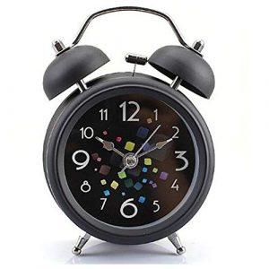 Réveil double cloche vintage 3 cm avec veilleuse pour dormeurs lourdes pour chambre à coucher, en métal inoxydable, fonction veilleuse, alarme forte, sans tactiles, fonctionne à piles
