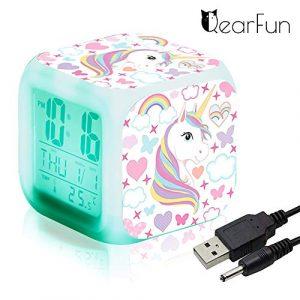 Réveils numériques Licorne pour les filles, Cube LCD LED de nuit brillante avec enfants légers Réveillez-vous l'horloge de chevet Cadeaux d'anniversaire pour les enfants Femmes Chambre adulte (7)