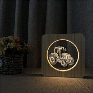 Tracteur en bois veilleuse lampe de table gravure commande interrupteur lumière décoration chambre d'enfant