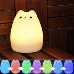 Umiwe Multicolore LED Veilleuse de Nuit Portable en Silicone sous Forme de Chat pour Chambre, Salon et Bureau