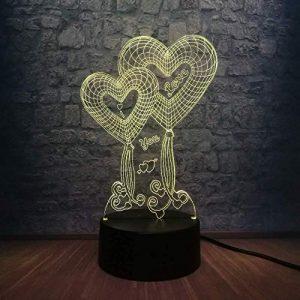 Veilleuse Enfants 3D Lampe Amour Coeur Ballon 3D LED USB Lampe De Mariage Décoration de La Maison Coloré 3D Illusion Cadeau Romantique Gadget Fille Cadeau D'anniversaire