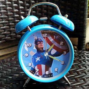 wwwl Réveil Réveil Numérique Capitaine Iron Man Avengers Chevet Minimaliste Réveil Silencieux Métal Garçon Cadeau Mignon Enfants Réveil