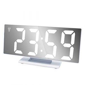 ZJMM LED Miroir LED Électronique Numérique Horloge Multifonction Snooze Réveil Creative Étudiant Chevet Réveil