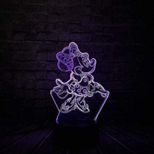3D Mignon Minnie Led Illusion Optique Lampes Veilleuse 7 Couleurs Tactile Art Sculpture Lumières avec USB Câbles Chambre Bureau Table Décoration Lampe pour Enfants Adultes Enfants s Cadeau De Vacances