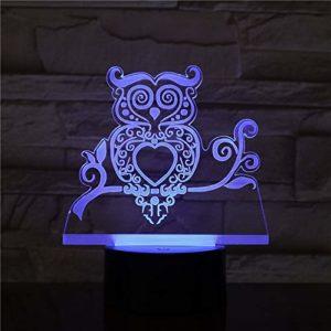 ANYODP 3D créative veilleuse LED lampe de table magique -Chouette- sept changements de couleur-Saint Valentin Noël enfants cadeaux-cadeaux de fête d'anniversaire/GW-13501SC