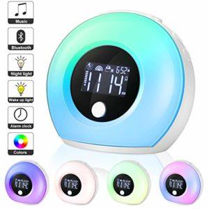 EXTSUD Lampe de Réveil LCD Lampe de Chevet avec Haut-parleur Bluetooth Lampe d'ambiance lumineux dimmable avec 4 luminosités, 5 couleurs et capteur de vibrations pour Enfants et Adultes