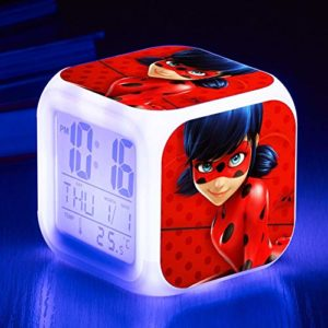 JXAA Fille garçon Jouet Enfants réveil numérique réveil Animation réveil lumière Table Lumineuse reloj despertador Sept Couleurs Flash numérique réveil veilleuse