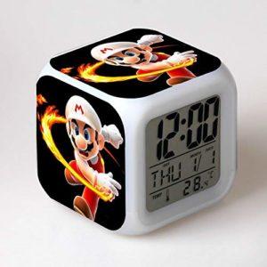 JXAA Réveil pour Enfants Dessin animé Horloge numérique lumière LED Horloge relo Table Table réveil Sept Couleurs Flash numérique réveil lumière de Nuit