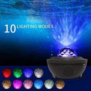 Kesme ciel étoilé lumière la nuit du projecteur, 2-in-1 étoilé lumière ciel nocturne et vague projecteur, minuterie haut-parleur Bluetooth musique avec télécommande 10 couleurs changement, adapté aux
