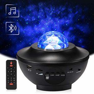 LED Projecteur étoile Rotatif, Delicacy Lampe de Projecteur de Nuage, Veilleuses Télécommandées, Lecteur Musique à Couleurs Changeantes avec Bluetooth et Minuterie, Décoration/Cadeau/Enfants/Adultes