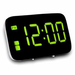 Nrpfell Réveil, Réveil Numérique avec Commande Vocale Et Grand Snooze, Horloge LED pour Enfants/Gros Dormeurs/Chambre à Coucher/Maison/Voyage/Bureau (Jaune)