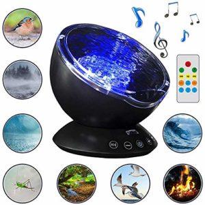 Projecteur Ocean Wave Et Sound Machine 2 En 1, Projecteur De Lumière De Nuit Avec Luminosité Réglable Et Effets De Lumière De Vague Changeante De Couleur, Veilleuse Pour Chambre D'adultes Enfants,Noir
