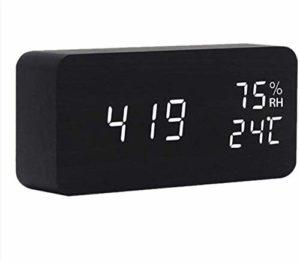 QIANSHI Le début du rêve Commence tôt Température réveil LED et de l'humidité Bureau électronique Horloge Montre numérique, Couleur réveil Multifonction (Color : Black)