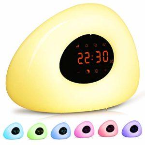 Réveil lumineux, simulation du lever et du coucher du soleil, aide multicolore pour l'aide au sommeil, 10 sons d'alarme naturels/sommeil pour enfants