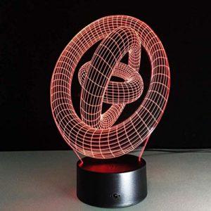 Trois anneaux 2 3D Illusion Lampe LED Veilleuse, LED Veilleuse Tactile Capteur Lumière 7 Effet Couleur Enfants Mignon Veilleuse lampe de Bureau Chambre Nouvel An Cadeau